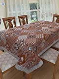 #9: Clasiko 6 Seater PVC Table Cover; White Brown Checks & Floral; Anti Slip; 60x90 inches; 6 Seater