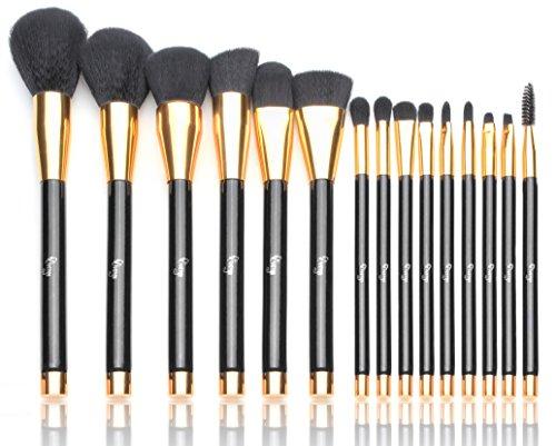 Qivange Brosses de maquillage Végan Professionel / Kit de brosse de maquillage synthétique brosse de fondation pour eyeliner Kit de brosses de maquillage pour l'ombre des yeux+ sac cosmétique, noir avec or (15 pcs)