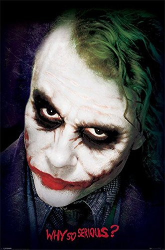 Poster Batman - The Dark Knight Visage du Joker (61cm x 91,5cm) + un poster Bora Bora en cadeau!