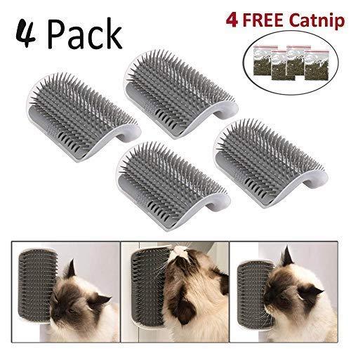 SYWAN 4pcs Cat Self Groomer mit Katzenminze, Cat Wall Corner Massage Kamm Pflegepinsel Massage Tool für Katzen mit langem und kurzem Fell
