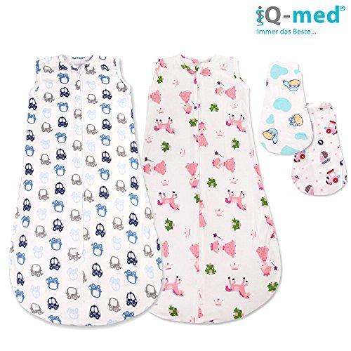 Baby-Schlafsack von iQ-med® | 75cm | Schlafsack für den Sommer | aus 100% kuschelweicher Baumwolle | Babyschlafsack, Sommer-Schlafsack, Kinder-Schlafsack, Baby-Decke, Baby-Fußsack, Swaddle(Pink)