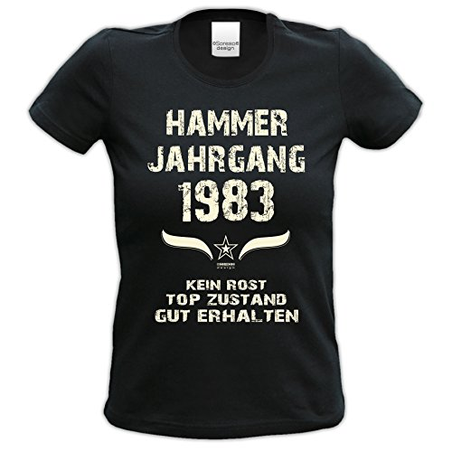bequemes t Shirt Damen Girlie Motiv Hammer Jahrgang 1983 zum 33. Geburtstag Jahrgangs-T-Shirt Geschenk cooles Outfit Farbe: schwarz Schwarz