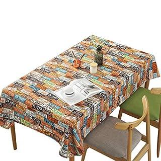 AUTOP Kreative Tischdecke Retro- Kfz-Kennzeichen Rundes Tuch Rechteckig Inneneinrichtung Multifunktional Innen- und Außenbereich Dicke Baumwolle Amerikanischer Stil Bar Mode Farbe
