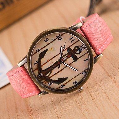Fashion Watches Schöne Uhren, Frauen Neue Denim-europäische Art und weise Retro- Anker beiläufige Armbanduhr (Farbe : Rosa)
