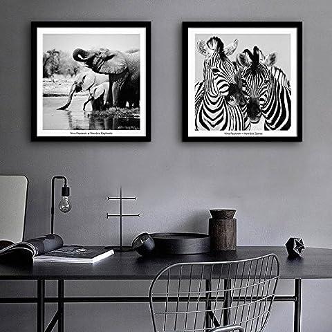modylee Zebre ed elefanti con telone Video decorativa dipinti soggiorno camera da letto pCS2Tela pittura a olio, Black,