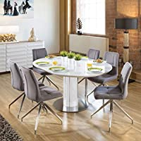 808fbcc537 Quatropi Modern Extending Dining Set Oval/Round Glass Wht Table 6 Gry Chairs