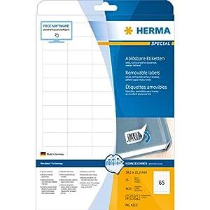 Herma 4212 Étiquettes movables/amovibles 38,1 x 21,2 A4 Blanc