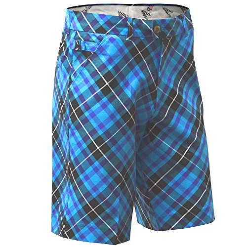 ROYAL & AWESOME HERREN-GOLFSHORTS - Mehrfarbig (Blue Plaid Trews)-32