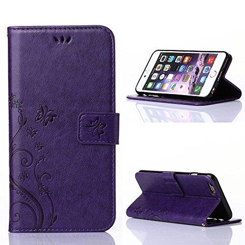 """iPhone 6 Plus /iPhone 6s Plus Hülle,COOLKE Retro Butterflies Pattern Design PU Leather Wallet With Card Pouch Stand Lederhülle Leder Tasche Case Cover für Apple iPhone 6 Plus /6s Plus (5.5"""") Schutzhül lila"""