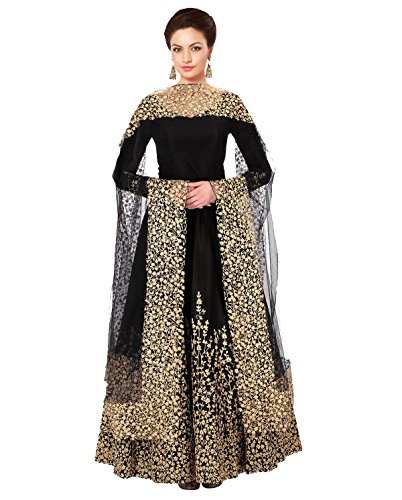 Mordenfab Black Women's Taffeta Silk Semi Stitched Party Wear Floor Length Anarkali...