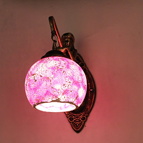 Larsure Vintage Industrial Style Wall Sconce Wall Light Lamp light Mediterranean mosaic children mermaid wall lights before mirror lamp with E27 Socket for House, Bar, Restaurants, Coffee Shop, Club Decoration, 25*w25cm with E27 Socket for House, Bar, Res
