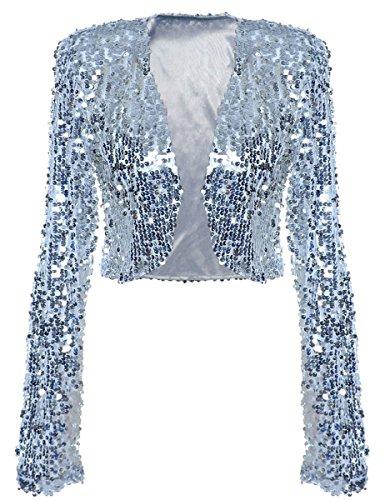 illetten Jacke Kurze Disco Tanz Langarm Bolero Clubwear Party Tops M Silber (Disco-tanzkostüme)