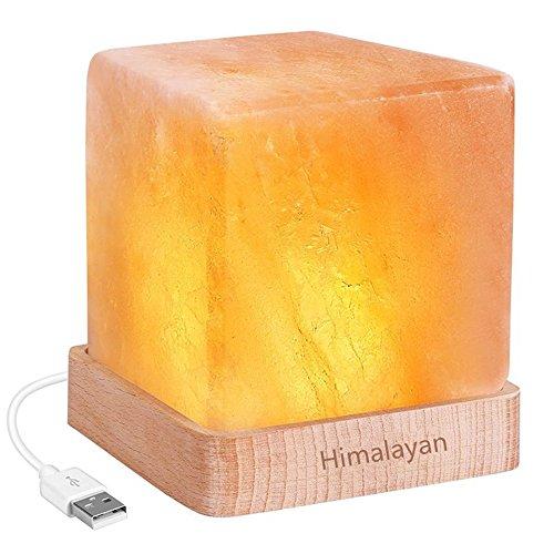 Desinger LED Nachtlicht USB Wiederaufladbare Himalaya Salz Lampe Luftreiniger Kristall Salz Rock Nachtlampe Für Schreibtisch Nachttisch Schlafzimmer Party Tabelle (Color : Warm light Monochrome) -