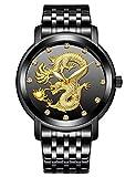 Herrenuhren Männer Wasserdicht Edelstahl Schwarz Uhr Herren Chinesisches Drache Zifferblatt Analog Quarz Uhren Einzigartiger Design Luxus Mode Geschäft Klassische Uhrfür Herren