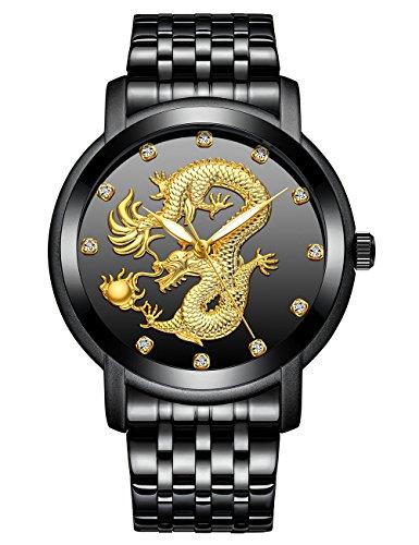 Relojes para Hombres Reloj Impermeable de Acero Inoxidable para Hombre Negro Relojes Analógicos de Cuarzo Diseño Unico Esfera del Dragón Chino Reloj Hombres Clásico Lujo Moda Negoci