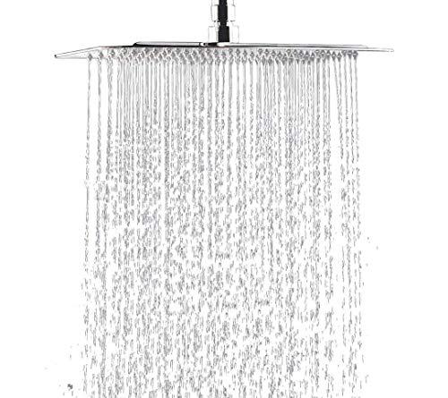 ourvann Regendusche Duschkopf Einbauduschkopf Kopfbrause Regenbrause aus 304 Edelstahl mit Anti-Kalk-Düsen Duschkopf Wasserfall Regenduschkopf 30cm 12 Zoll- Quadratisch