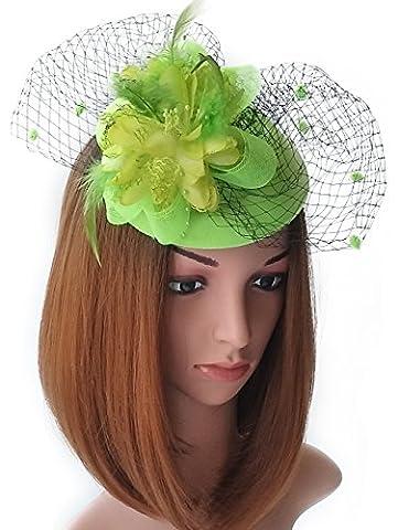 Fascinator Hats Pillbox Hat British Bowler Hat Flower Veil Wedding Hat Tea Party Hat (Light Green)