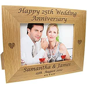 25th Wedding Anniversary Gift Engraved Oak Wedding Anniversary