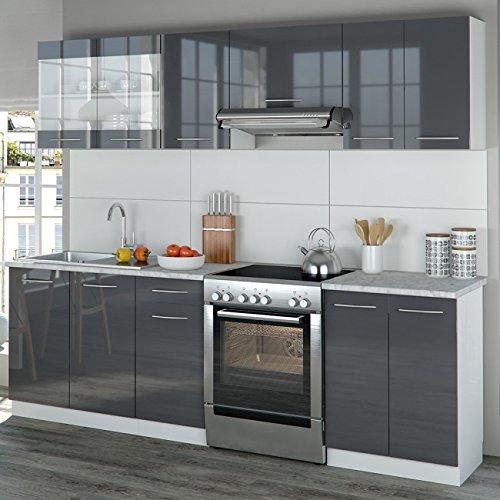 Animalmarketonline küche wasch einbauküchen r line vicco küchenzeile 240 cm anthrazit hochglanz r line