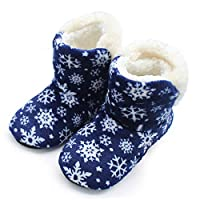 HIUGHJ Indoor slippers Winter Snowflake Super Soft Bottom Indoor Home Shoes Long Plush Warm Moon Cotton Shoes Foreign Trade