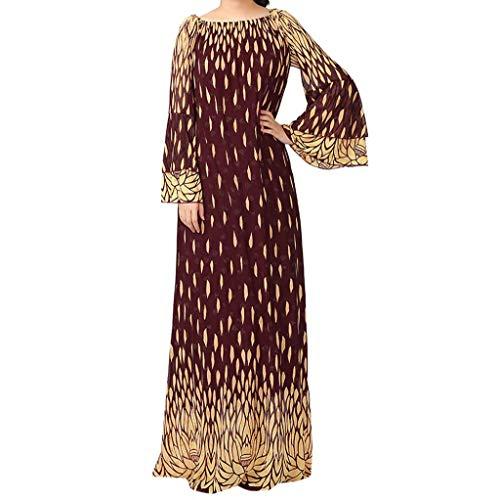 CixNy Muslimische Vintage Langarm Kleid Frauen Kleider Nationaler Stil Drucken Tunika Abaya Dubai Damen Casual Abendkleid Hochzeit Kaftan Robe Muslim Lang Maxikleid Islamische ()