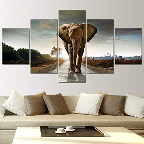 FENGCLOCK África Elefantes Animales Salvajes Pintura de la Lona, 5 Piezas sin...