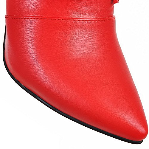 AllhqFashion Damen Niedrig-Spitze Weiches Material Hoher Absatz Spitz Zehe Stiefel Rot