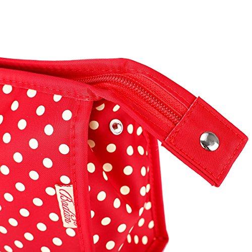 TININNA Moda Carino Bowknot Pois Grande capacità trucco Custodia Sacchetto cosmetico Sacchetto di immagazzinaggio Trucco Borse Borsa da toilette Rosso Rosso