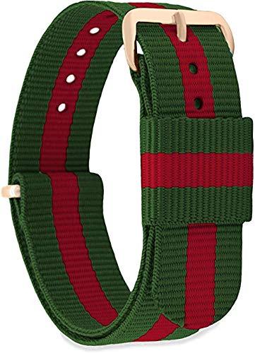GN7 Damen Herren Nylon Ersatzarmband mit Edelstahlschnalle in Roségold und Silber 18mm 20mm 22mm 18 R-13 ORO Rossa/Rosso Verde