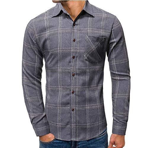 TOALOL Camicia Uomo Slim Fit Manica Lunga Elegante Stampa A Quadri Button Down Moda Classica S/M/L/XL/XXLSmall03-Grigio
