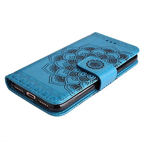 Coque iPhone 7, Etui iPhone 7, ISAKEN Fleur tribale colorée Style PU Cuir Flip Magnétique Portefeuille Etui Housse de Protection Coque Étui Case Cover avec Portable Dragonne Stand Support et Carte de  fleur: bleu