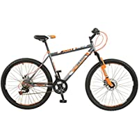 "Boss Vortex Mens' Mountain Bike Grey/Orange, 18"" inch steel frame, 18 speed front and rear zoom branded mechanical disc brakes alloy double wall wheel rims"