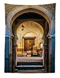 Abakuhaus - Tappeto da Parete Marocchino, Vecchio Motivo Marocchino, Morbido Tessuto in Microfibra, Lavabile, Stampa Blu Beige