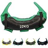POWRX Bulgarien Gewichts Bag I 5 kg, 8 kg, 12 kg, 17 kg, 22 kg I Kunstleder Sandsack für Functional Fitness (22 kg Schwarz/Dunkelgrün)