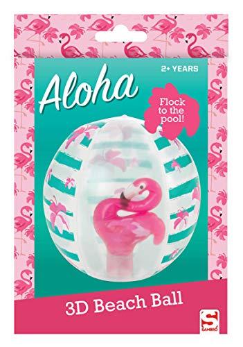Sambro SAM-3396-1 - Wasserball mit 3D Effekt, ca. 45 cm, Flamingo Motiv, für Kinder ab 2 Jahren, mit Sicherheitsventil, ideal für Pool, Strand und Schwimmbad