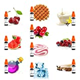 E-Liquids für E Zigaretten / Elektrische Zigarette / E Shisha 0mg Nikotin 10 x 10 ml E-LIQUID Einsteigerset, Kirsche, Apfel, Wassermelone, Vanille, Erdbeere-Sahne, Eisbonbon, Waffel, Tabacco, Pink Poison, Waldfrüchte - ohne Nikotin