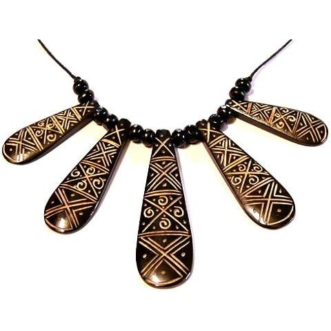 Collana corno os etnica TRIBAL BIJOUX Ciondolo horn bone necklace, colore: nero/bianco