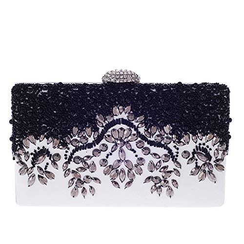 KFRSQ Umhängetasche Damen Handtasche Uhr Handtaschen Taschen Tasche Perlen Bestickt Strass Abend Party Tasche Einfache Abendkleid Damentasche