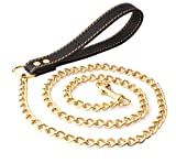 8mm Cuba Link Pet Leash Pet Dog Traction Rope Leather Edelstahl Titanium Steel Ball Chain Chain Tragegurt 125 cm,Black