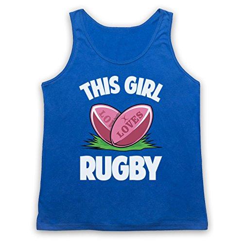 This Girl Loves Rugby Rugby Slogan Tank-Top Weste Blau