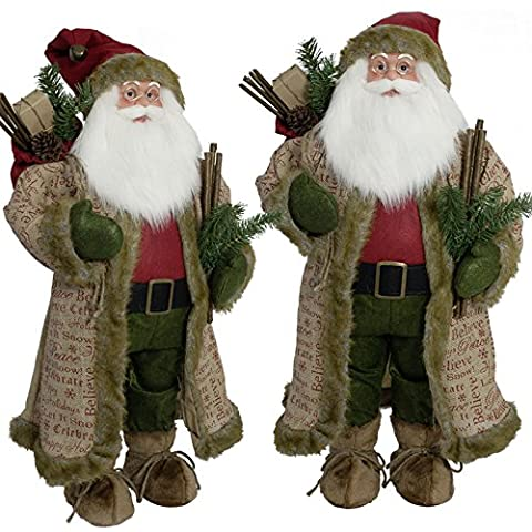 JEMIDI Weihnachtsmann Weihnachtsmänner Figur 30cm. 60cm oder 80cm Santa Klaus Deko Nikolaus 60cm
