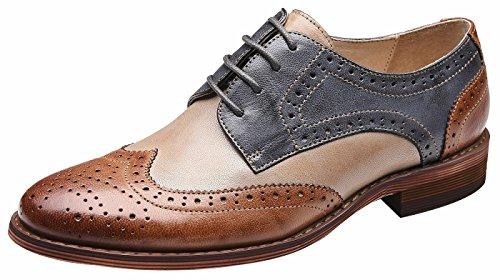 SimleC Damen Perforierte Schnüren Wingtip MehrfarbenLeder Oxfords Vintage Comfy Office Schuhe 38.5BB Damen Wingtip