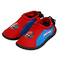 Marvel® Official Spiderman Children Kids Boys Surf Aqua Shoes for Beach, Pool & Outdoor, Wetsuit Canvas Shoes, Slippers, Sandal Boot - UK Shoe Sizes - for Children Aged Between 2-10 Years