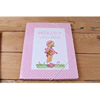 """Carpeta """"Médicos y Vacunas"""" con dibujo niña y greca de topito blanco sobre fondo rosa"""