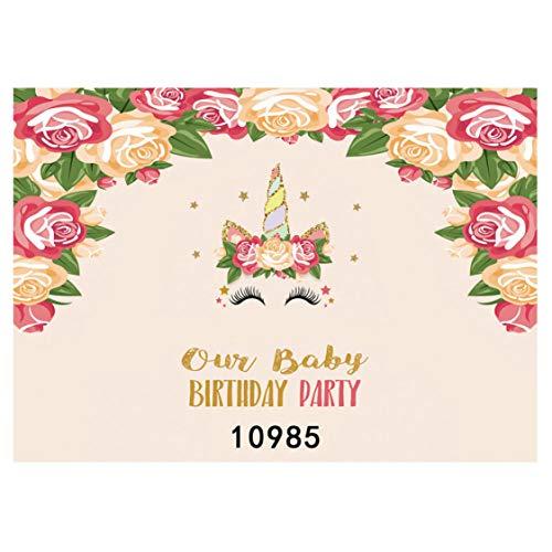 nantongluerdao Fotohintergrund für Geburtstagsfotos, Motiv: Frische Rosen und Blumen, Vinyl, Fotohintergrund für Babyparty, Mädchen, Jungen, 1. Geburtstag, Party, Foto, N/A, 10985, S