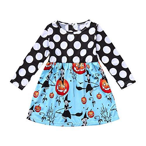 Halloween Kostüm Mädchen Kleinkind Baby Karikatur Halloween Kürbis Lange Ärmel Prinzessin Rock Halloween Kostüm Baby Kind Rundhals Röcke (Kinder Batman Zwei Kostüm Hoodie)