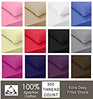 Sapphire collection 300 Thread Count 100% Egyptian Cotton Fitted Sheets All Sizes