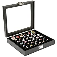 H&S Glass Lid 36 Ring Jewellery Display Storage Box Tray Case Stand - Black �??