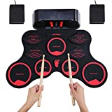 ammoon Set di Batterie Elettroniche Portatili Touch-up Sensibile Al tocco Digitale Kit di Batteria 9 Drum Pads 2 Pedali Principianti per Bambini (Red+black,con altoparlanti)