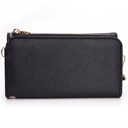 Kroo d'embrayage portefeuille avec dragonne et sangle bandoulière pour Smartphone Nokia Asha 501 Noir/gris Black and Violet